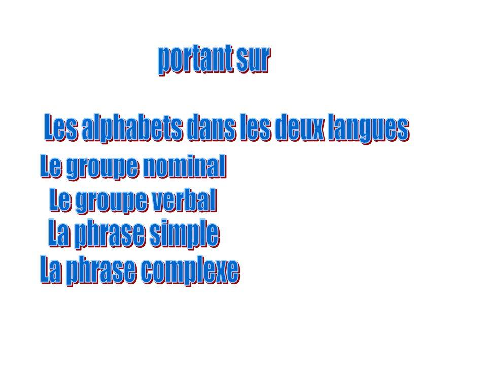 Les alphabets dans les deux langues