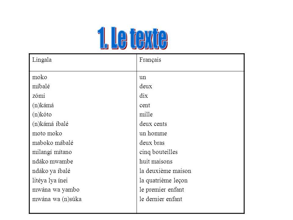 1. Le texte Lingala Français moko míbalé zómi (n)kámá (n)kóto