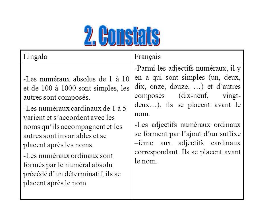 2. Constats Lingala Français