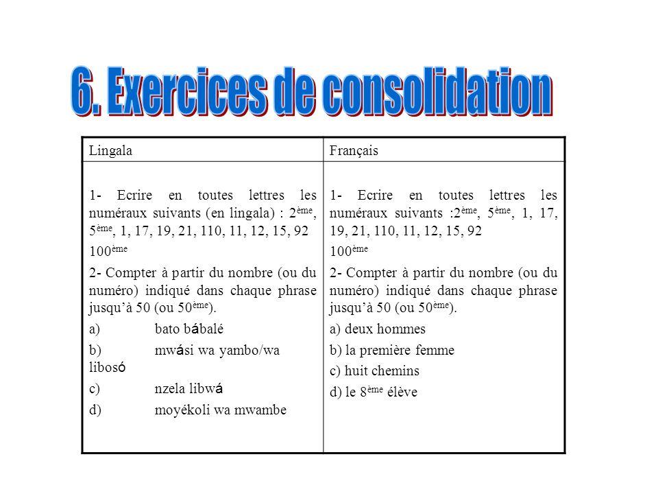 6. Exercices de consolidation