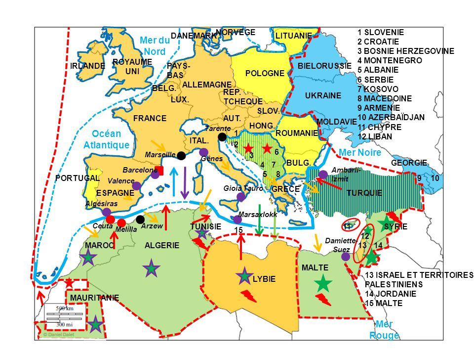 Mer du Nord Océan Atlantique Mer Noire Mer Rouge