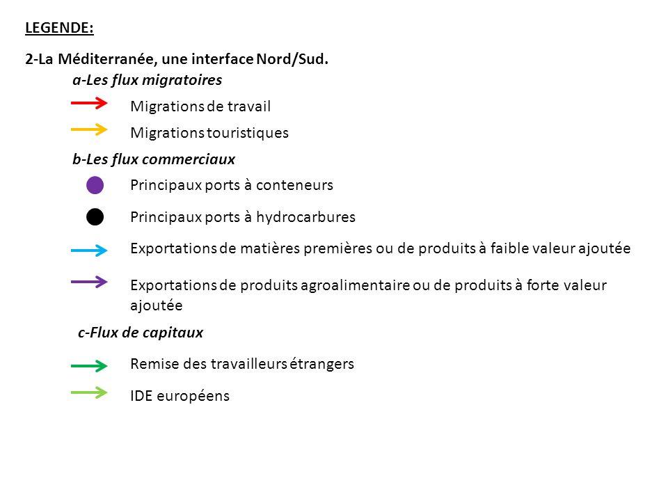LEGENDE: 2-La Méditerranée, une interface Nord/Sud. a-Les flux migratoires. Migrations de travail.