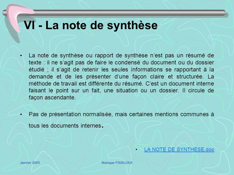 VI - La note de synthèse
