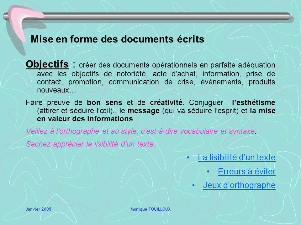 Mise en forme des documents écrits