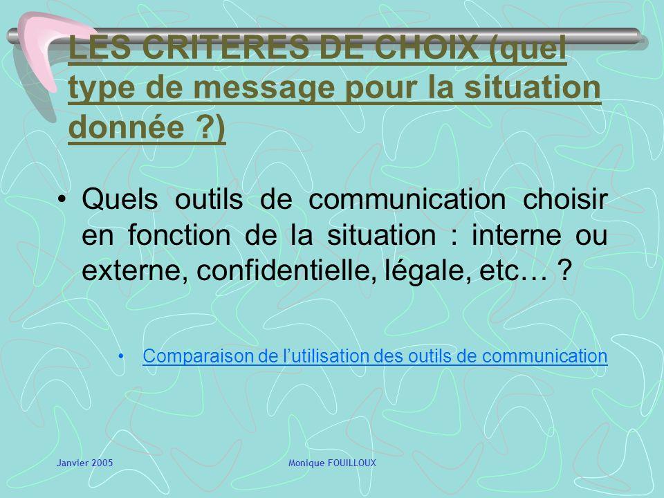 LES CRITERES DE CHOIX (quel type de message pour la situation donnée )