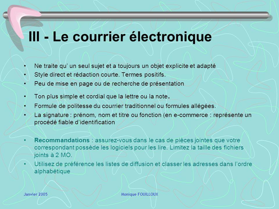 III - Le courrier électronique