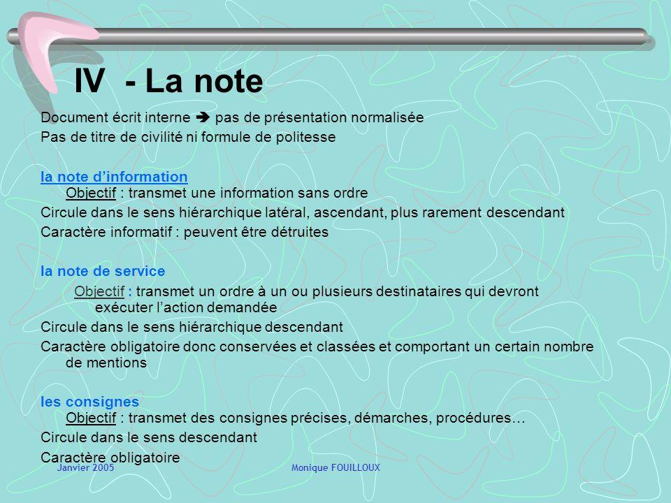 IV - La note Document écrit interne  pas de présentation normalisée