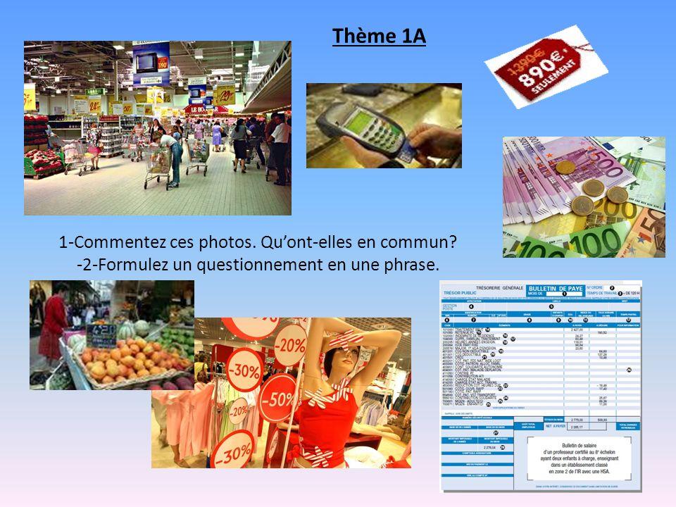 Thème 1A 1-Commentez ces photos. Qu'ont-elles en commun.
