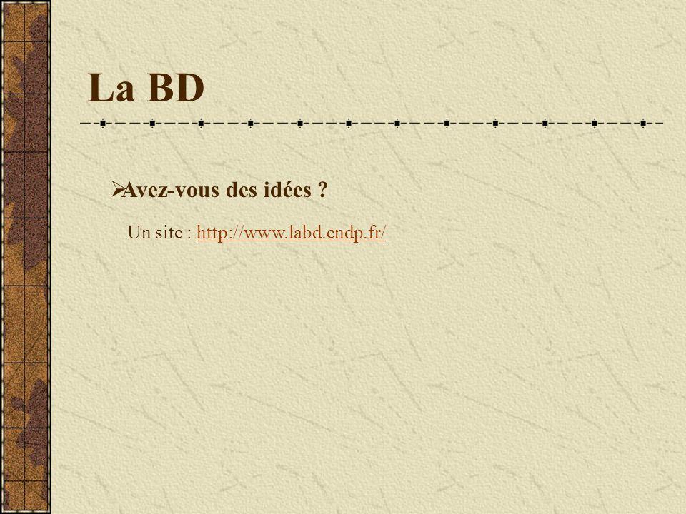 La BD Avez-vous des idées Un site : http://www.labd.cndp.fr/