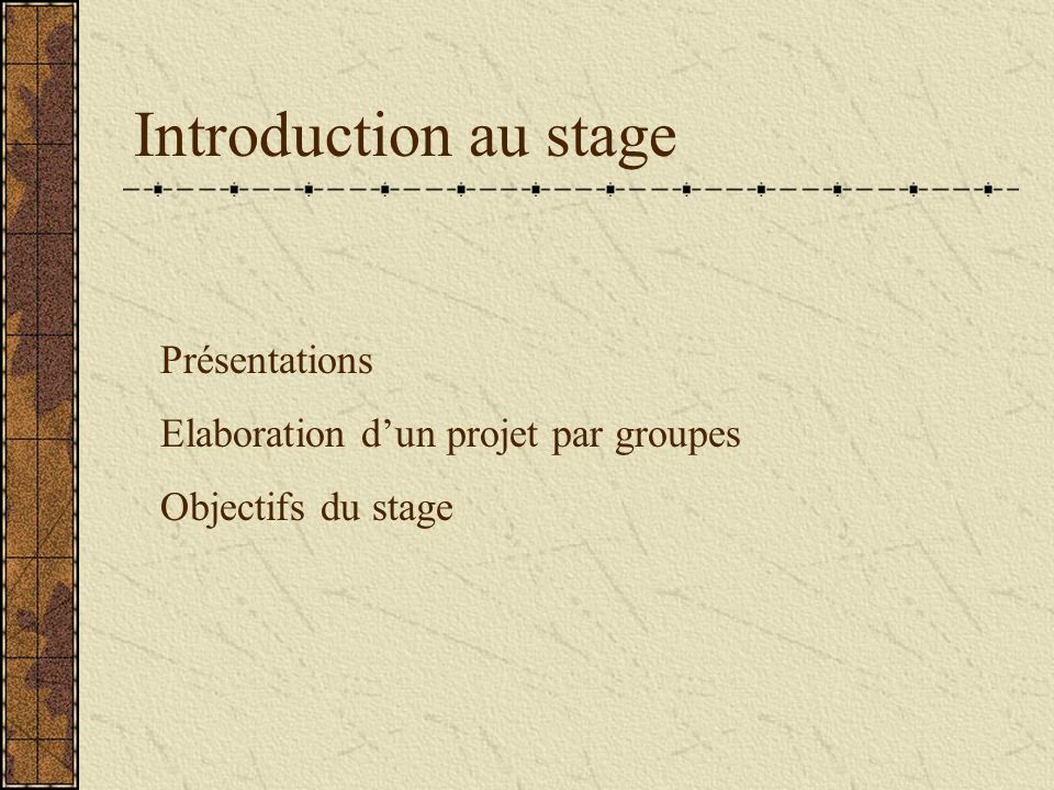 Introduction au stage Présentations