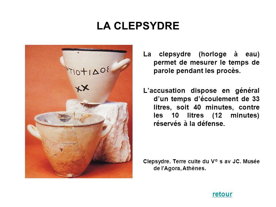 LA CLEPSYDRE La clepsydre (horloge à eau) permet de mesurer le temps de parole pendant les procès.