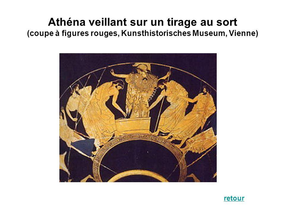 Athéna veillant sur un tirage au sort (coupe à figures rouges, Kunsthistorisches Museum, Vienne)