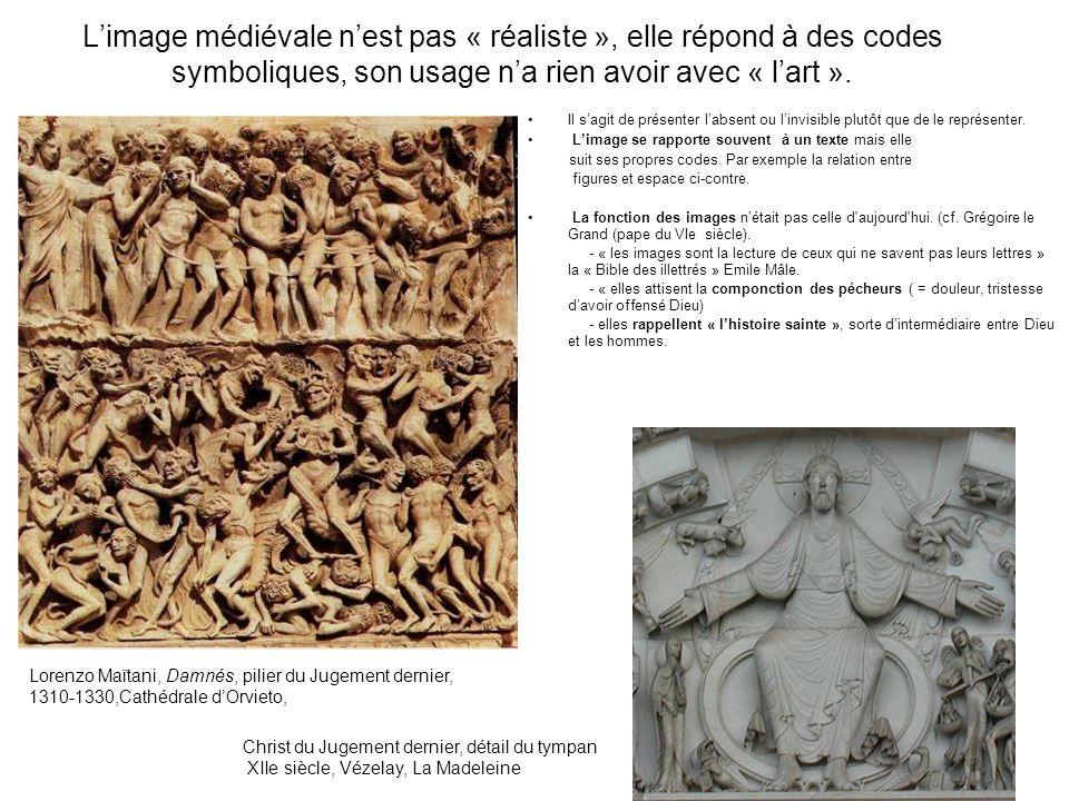 L'image médiévale n'est pas « réaliste », elle répond à des codes symboliques, son usage n'a rien avoir avec « l'art ».
