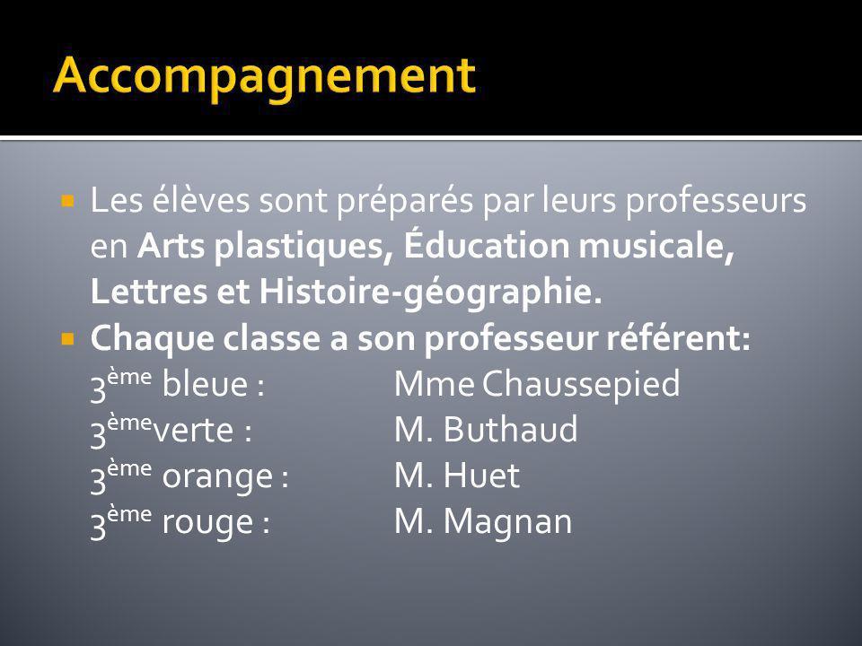 Accompagnement Les élèves sont préparés par leurs professeurs en Arts plastiques, Éducation musicale, Lettres et Histoire-géographie.