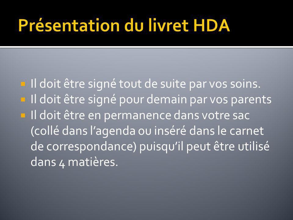 Présentation du livret HDA