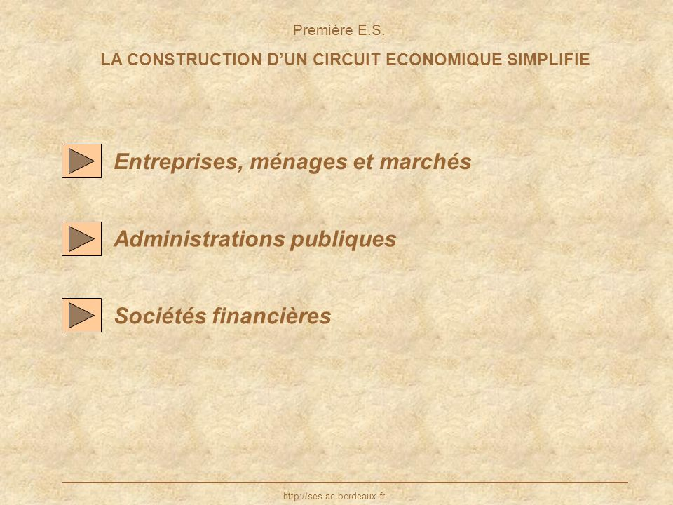 LA CONSTRUCTION D'UN CIRCUIT ECONOMIQUE SIMPLIFIE