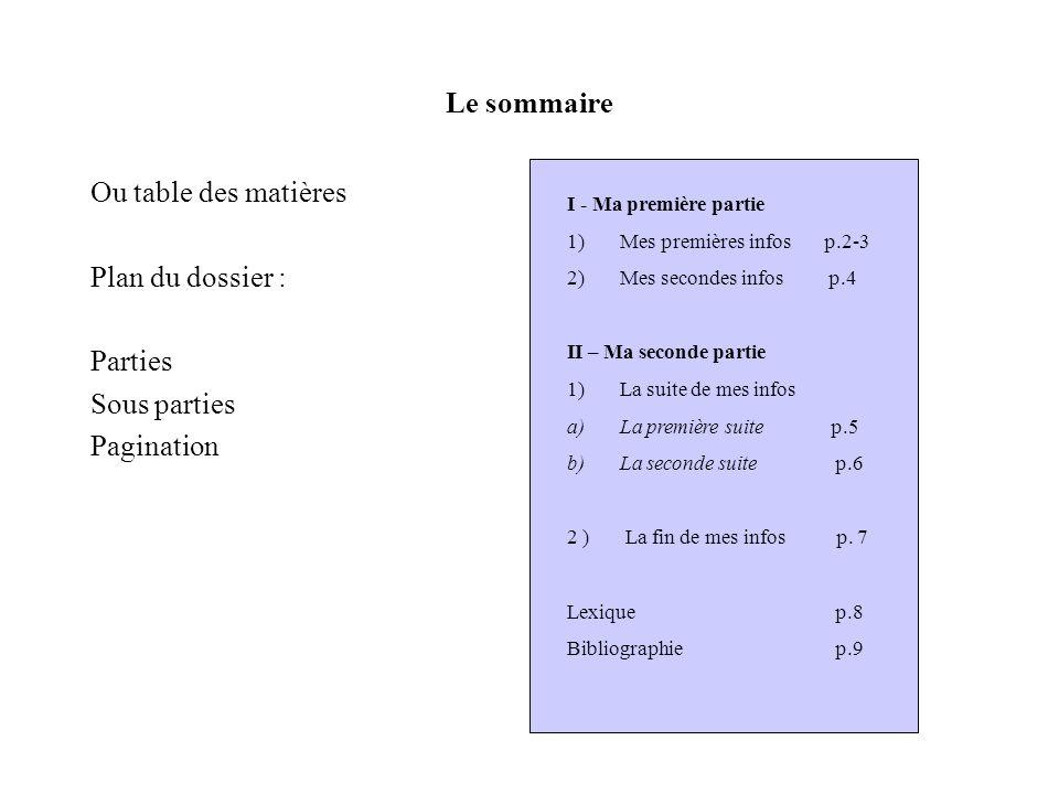 Le sommaire Ou table des matières Plan du dossier : Parties