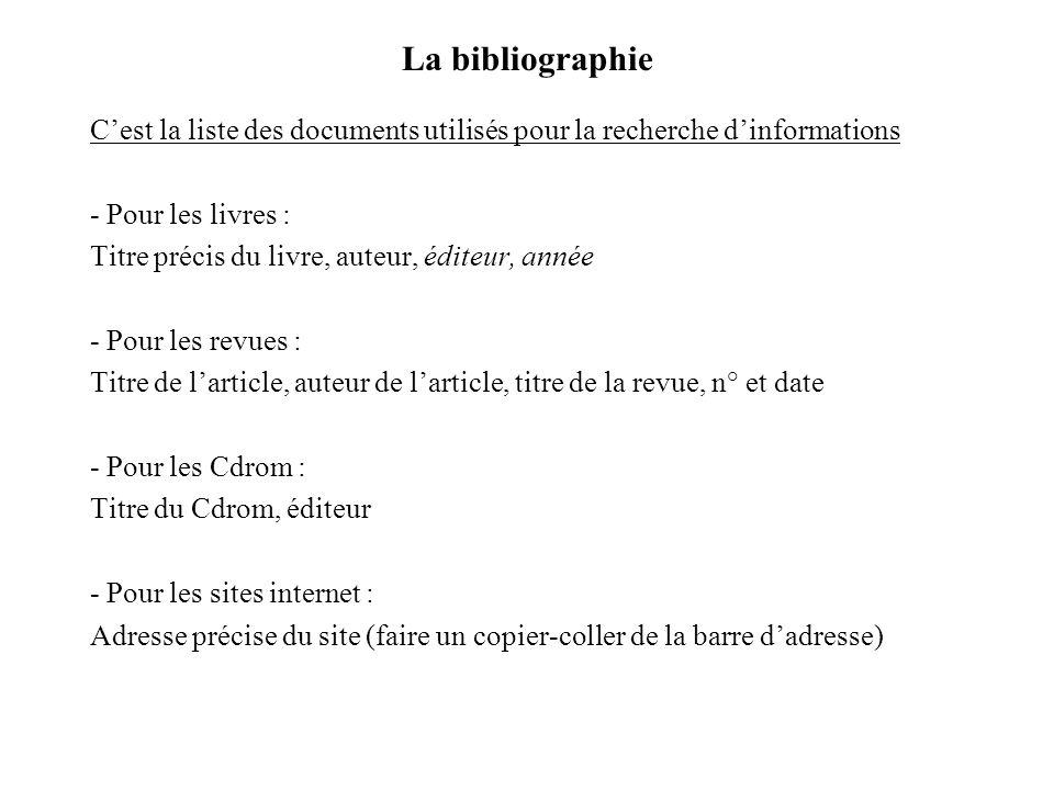La bibliographie C'est la liste des documents utilisés pour la recherche d'informations. - Pour les livres :