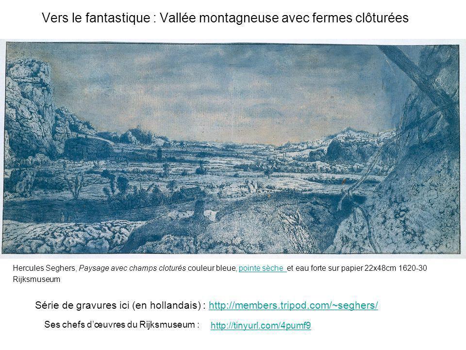 Vers le fantastique : Vallée montagneuse avec fermes clôturées