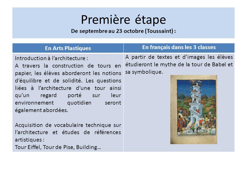 Première étape De septembre au 23 octobre (Toussaint) :