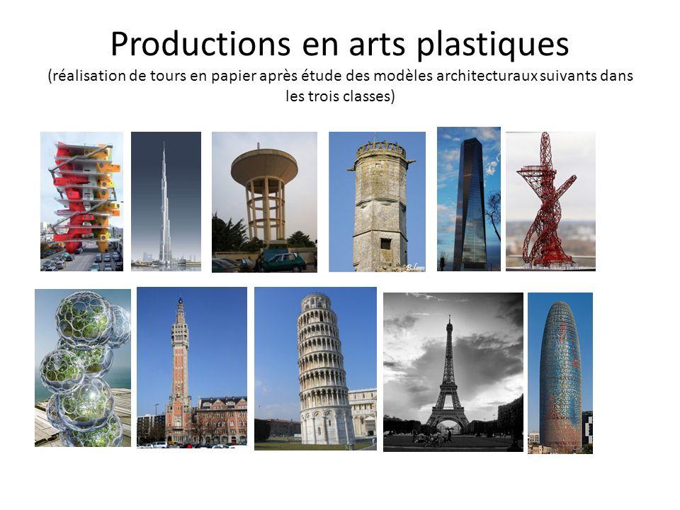 Productions en arts plastiques (réalisation de tours en papier après étude des modèles architecturaux suivants dans les trois classes)