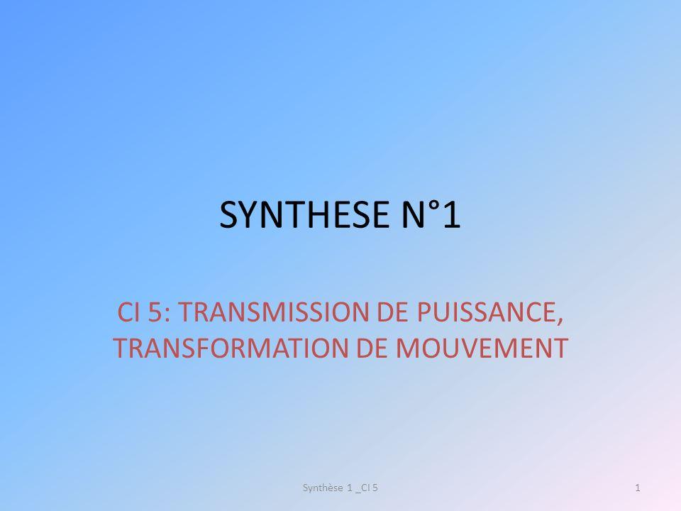 CI 5: TRANSMISSION DE PUISSANCE, TRANSFORMATION DE MOUVEMENT