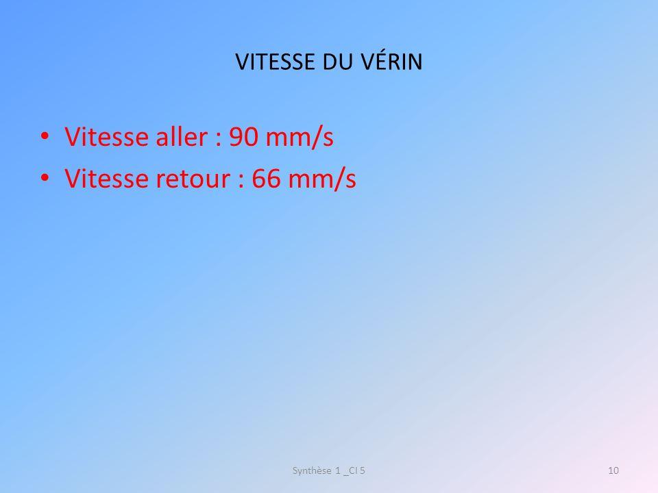 Vitesse aller : 90 mm/s Vitesse retour : 66 mm/s VITESSE DU VÉRIN