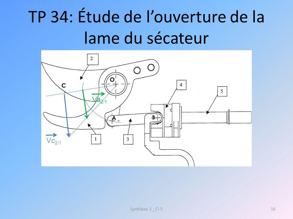 TP 34: Étude de l'ouverture de la lame du sécateur
