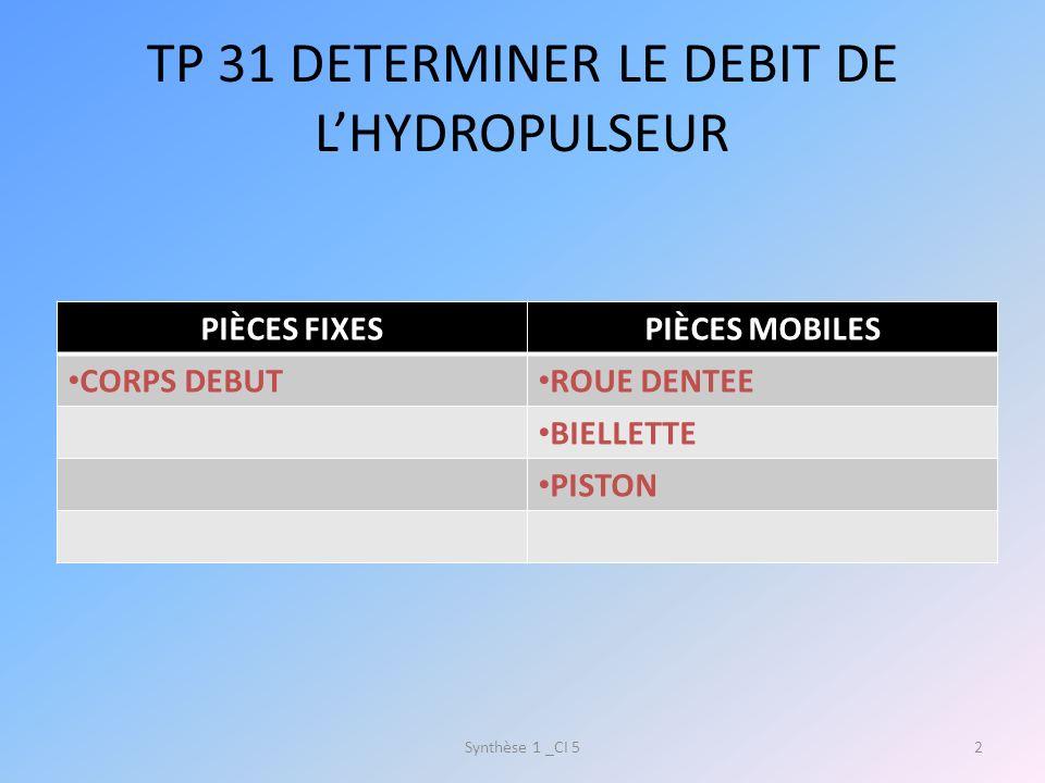 TP 31 DETERMINER LE DEBIT DE L'HYDROPULSEUR