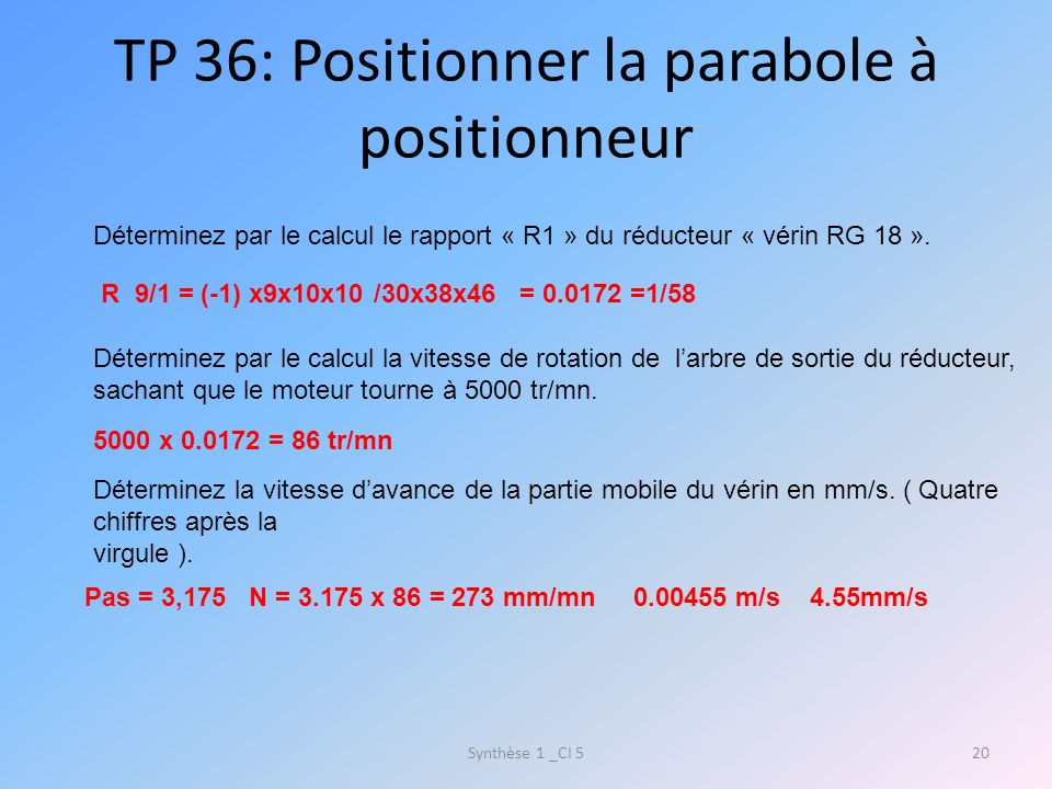 TP 36: Positionner la parabole à positionneur