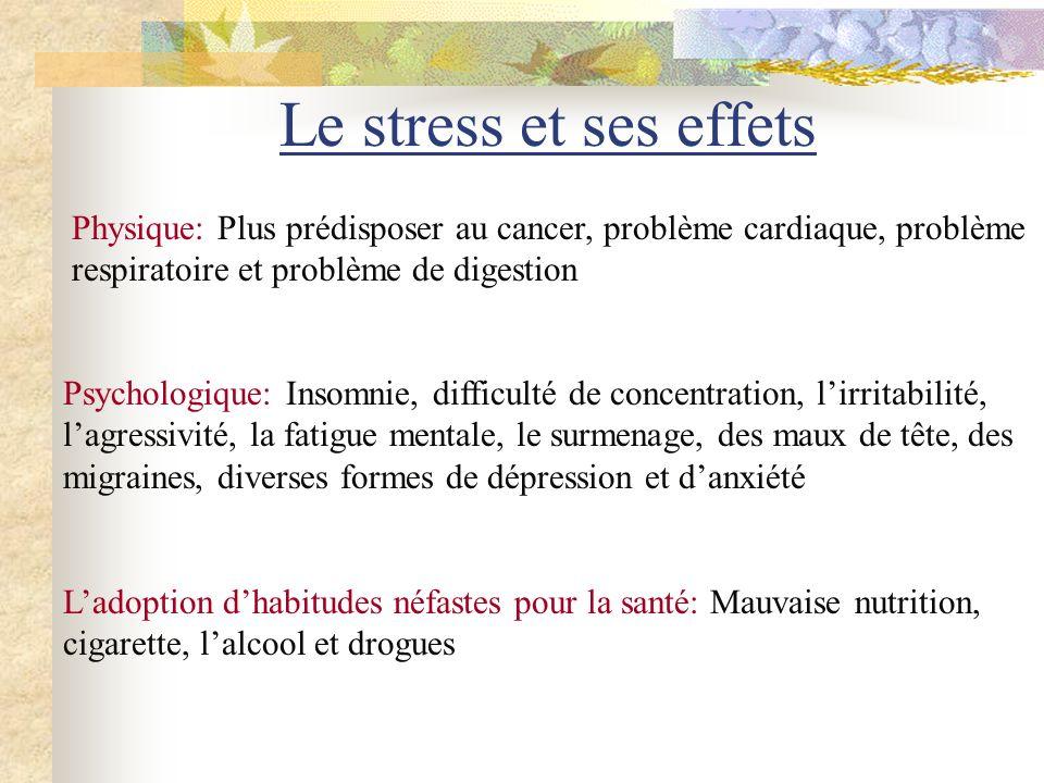 Le stress et ses effets Physique: Plus prédisposer au cancer, problème cardiaque, problème respiratoire et problème de digestion.