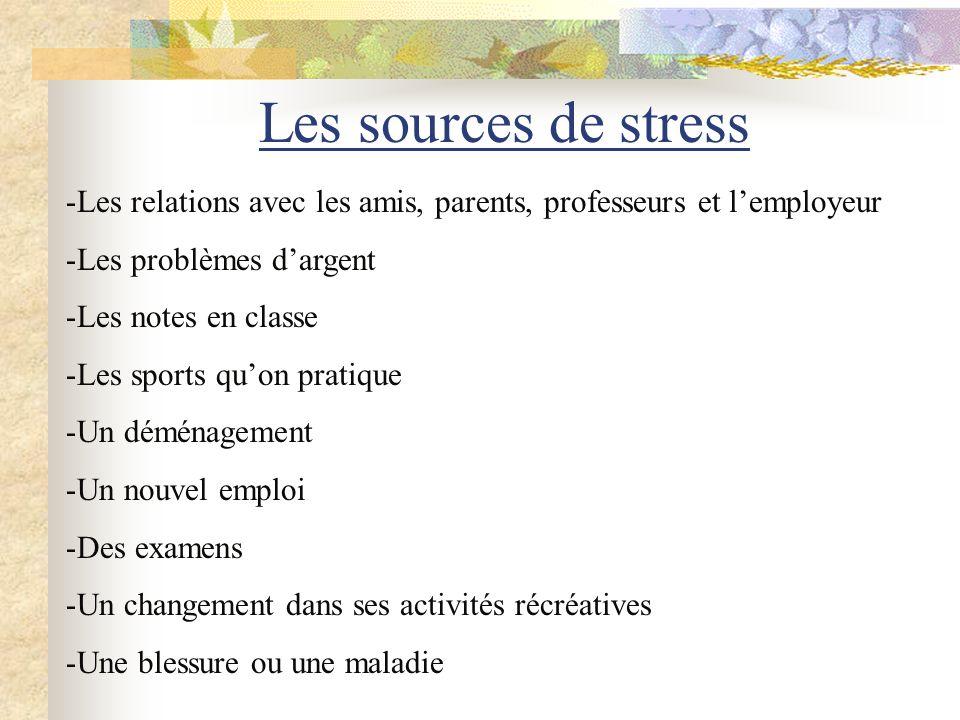 Les sources de stress Les relations avec les amis, parents, professeurs et l'employeur. Les problèmes d'argent.