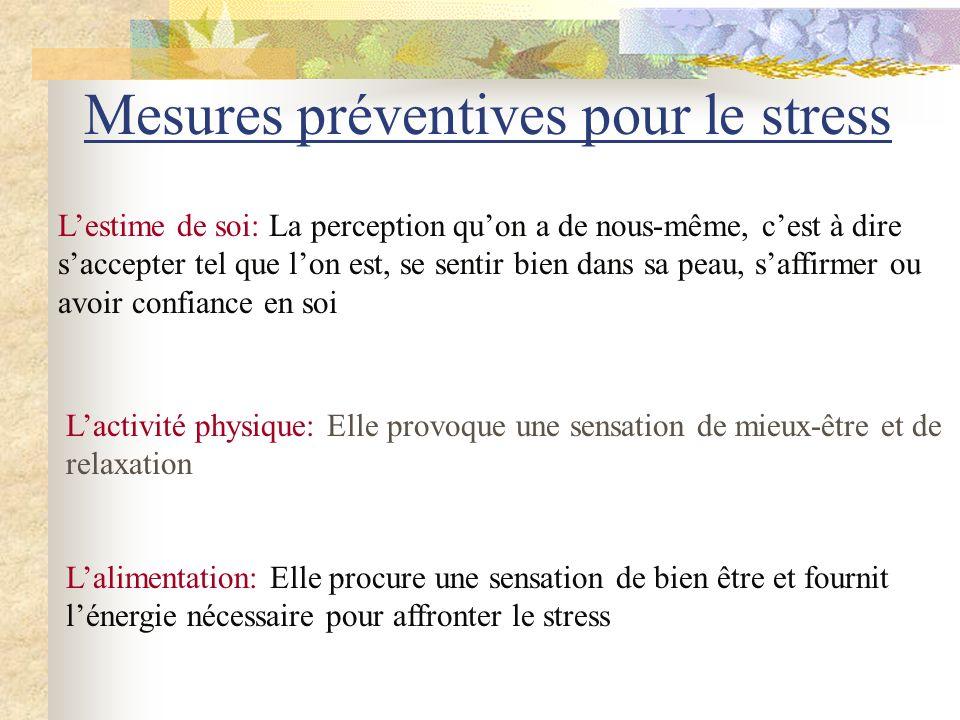 Mesures préventives pour le stress