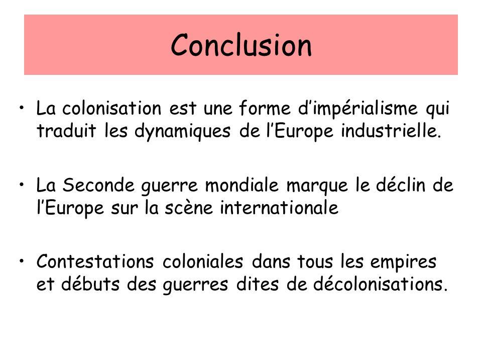 Conclusion La colonisation est une forme d'impérialisme qui traduit les dynamiques de l'Europe industrielle.