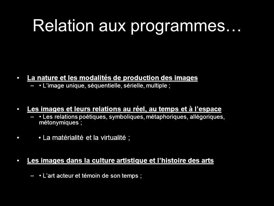 Relation aux programmes…