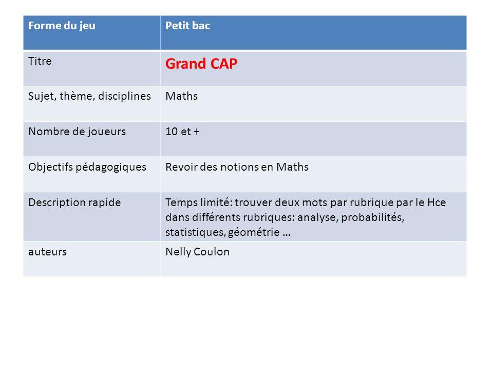 Grand CAP Forme du jeu Petit bac Titre Sujet, thème, disciplines Maths
