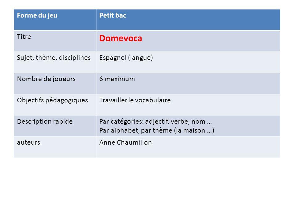 Domevoca Forme du jeu Petit bac Titre Sujet, thème, disciplines