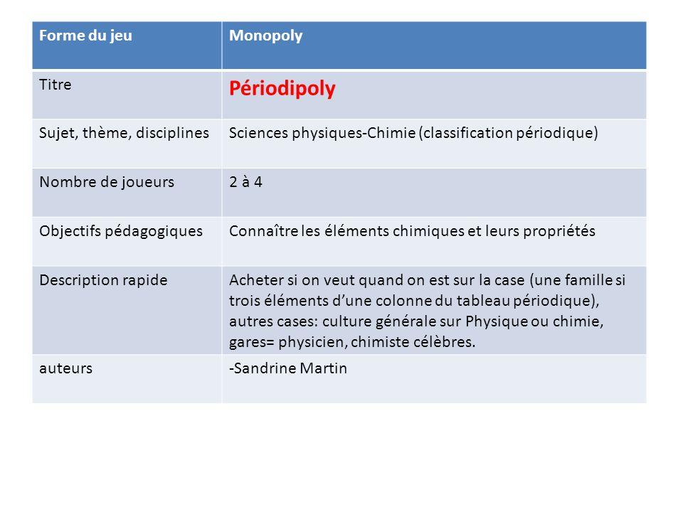 Périodipoly Forme du jeu Monopoly Titre Sujet, thème, disciplines