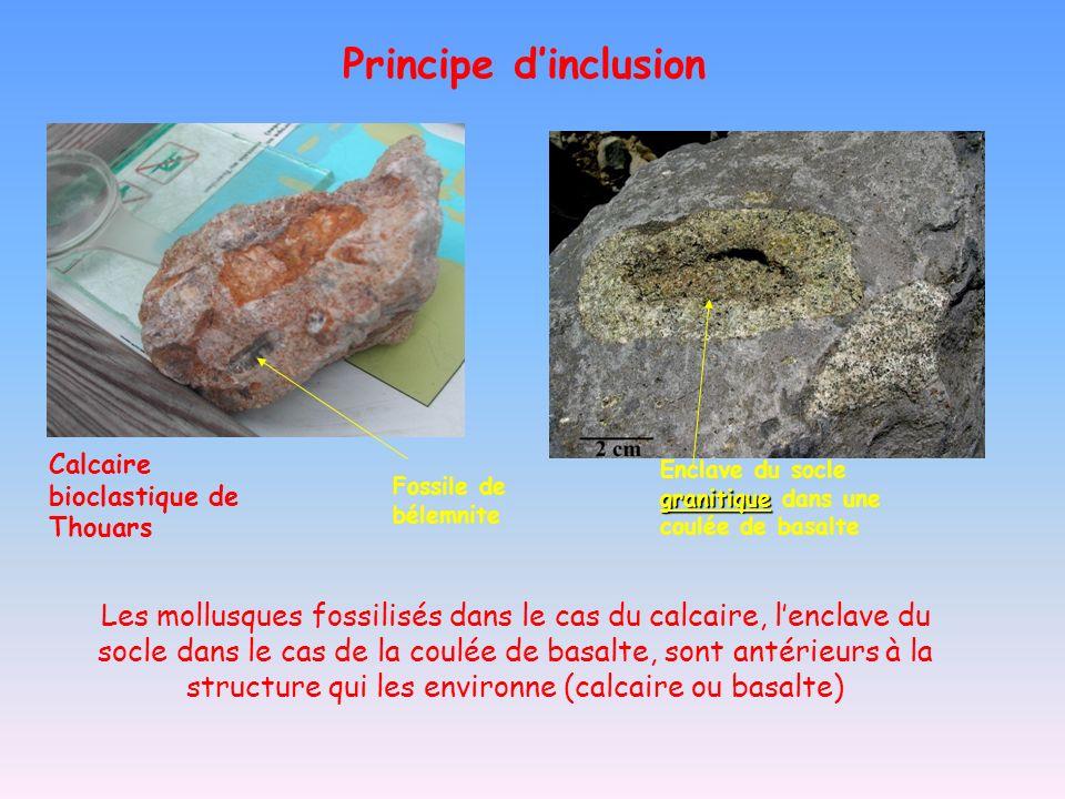 Principe d'inclusion Calcaire bioclastique de Thouars. Enclave du socle granitique dans une coulée de basalte.