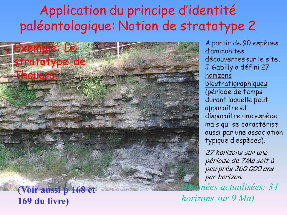 Application du principe d'identité paléontologique: Notion de stratotype 2
