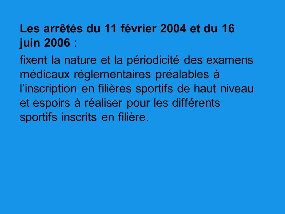 Les arrêtés du 11 février 2004 et du 16 juin 2006 :