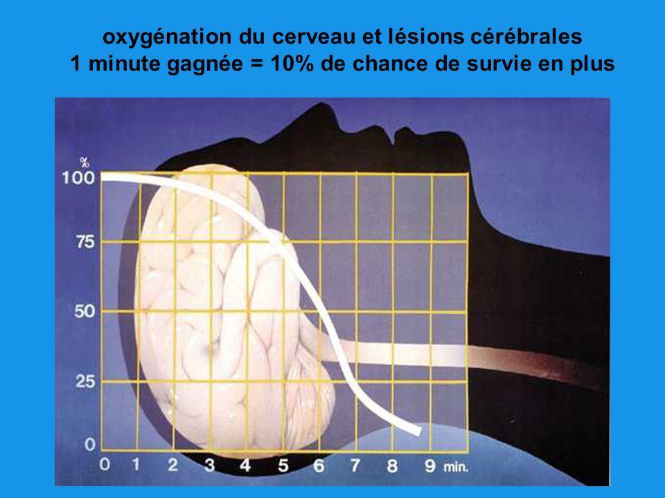 oxygénation du cerveau et lésions cérébrales 1 minute gagnée = 10% de chance de survie en plus