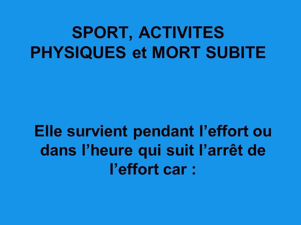 SPORT, ACTIVITES PHYSIQUES et MORT SUBITE