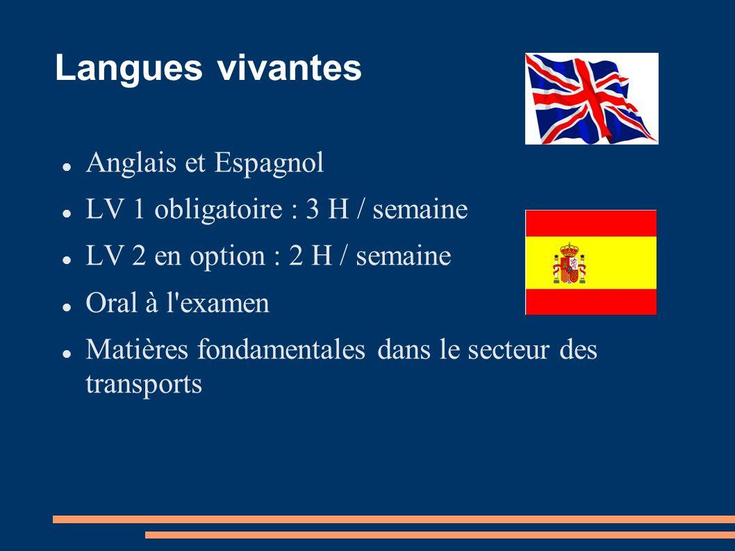 Langues vivantes Anglais et Espagnol LV 1 obligatoire : 3 H / semaine