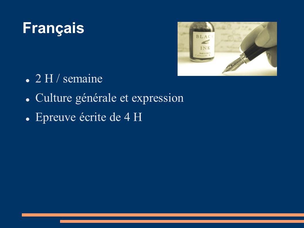 Français 2 H / semaine Culture générale et expression