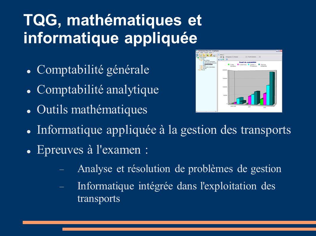TQG, mathématiques et informatique appliquée