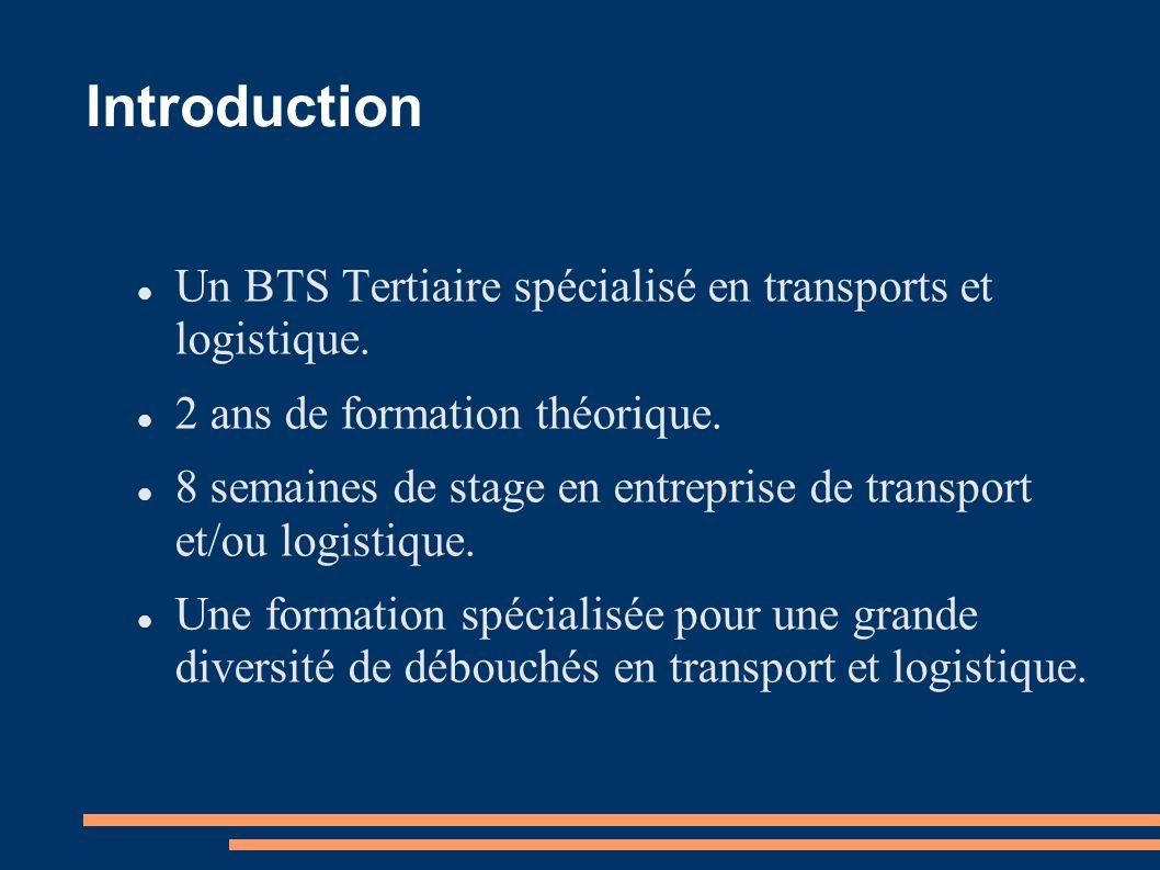 Introduction Un BTS Tertiaire spécialisé en transports et logistique.