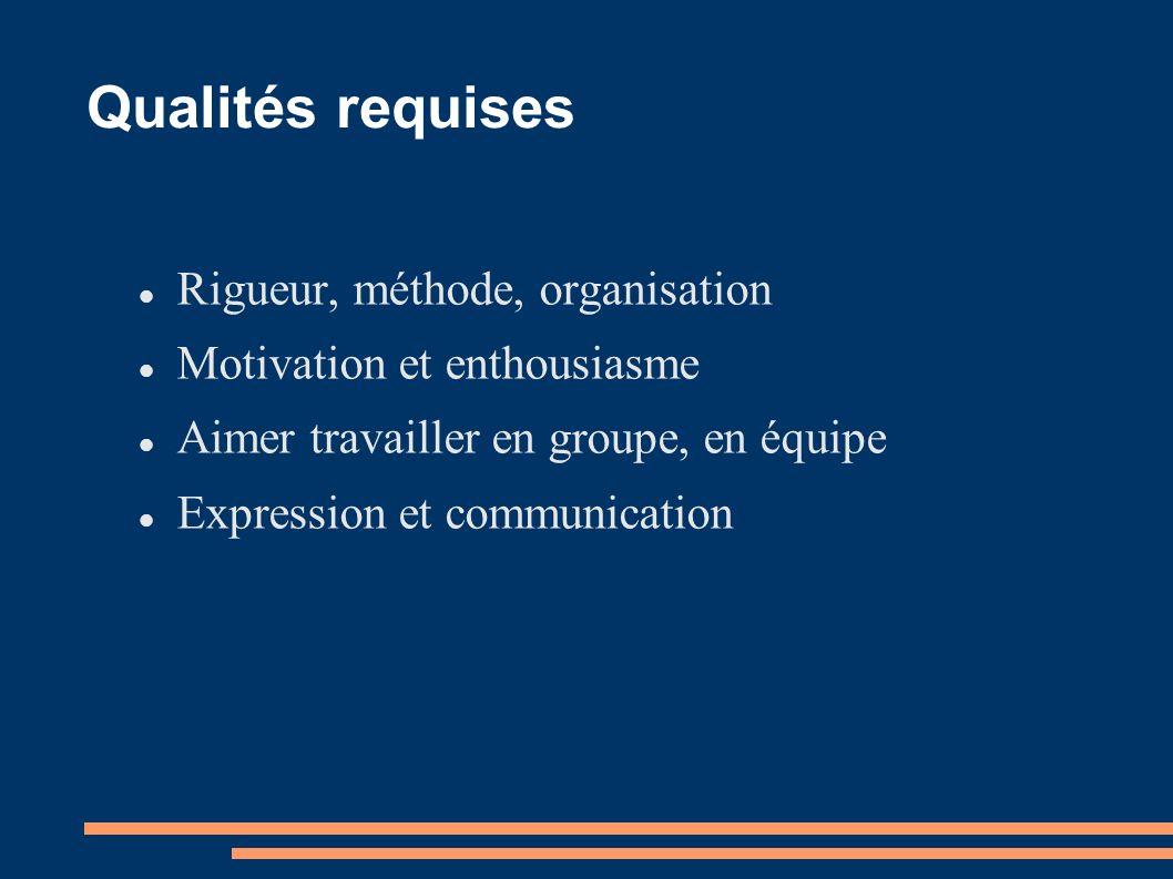 Qualités requises Rigueur, méthode, organisation