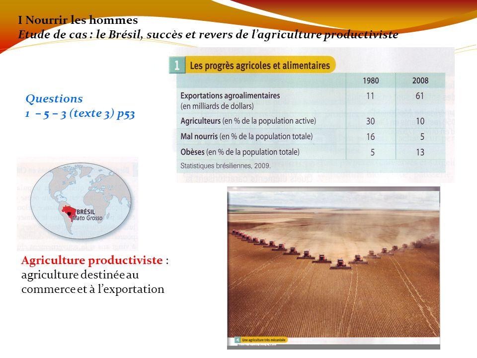I Nourrir les hommes Etude de cas : le Brésil, succès et revers de l'agriculture productiviste. Questions.