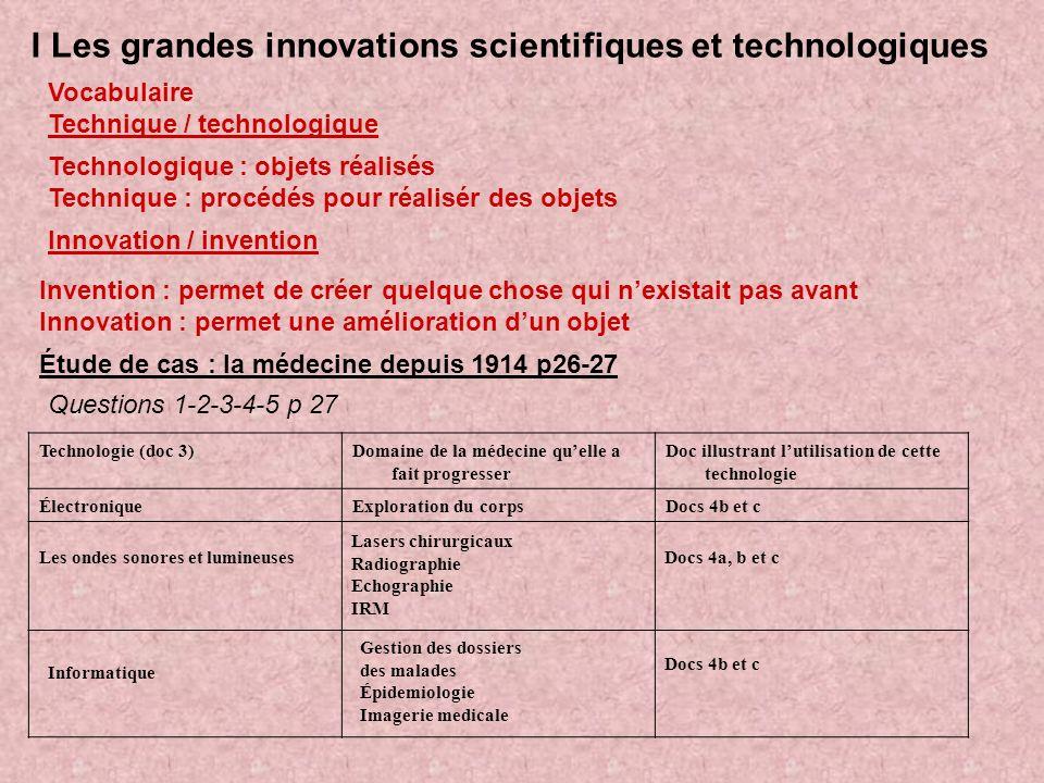 I Les grandes innovations scientifiques et technologiques